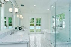 large bathroom mirrors with lights occasionally make a smarter and wiser life. Effect to a room, include your bathroom. Large bathroom mirrors with lights. Large Bathroom Mirrors, Small Bathroom Interior, Modern White Bathroom, Large Bathrooms, Modern Bathroom Design, Simple Bathroom, Bathroom Ideas, Master Bathroom, Bathroom Designs