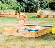 This Plum Products' sand pit comes complete with an integral wooden storage box for all your children's toys, buckets and spades.