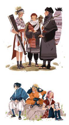 Temari, Kankuro, Sabaku no Gaara; Uzumaki Naruto, Uchiha Sasuke, Haruno Sakura. Sand siblings. Team 7 Hatake Kakashi