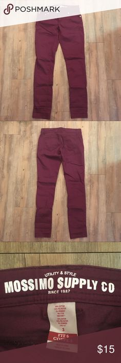 Target/Mossimo Skinny Jeans, Maroon Cute jeans, only worn once or twice because these run small and they're not working for me. ***PLEASE NOTE: these are marked as a size 2 because Posh doesn't offer odd-number sizing. However as can be seen in the last photo, they are actually a size 3. However considering they run small, they might actually be more suited for a size 1 or 2. Happy to provide measurements since sizing is weird. Mossimo Supply Co. Jeans Skinny