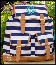 Something You - Personalized Campus Knapsack Backpack - Navy White Stripe b3c02e8ab6977