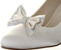Orion ~ Dyeable Ivory Satin Bride~Bridesmaid Wedding Shoe Clips By Rainbow Club