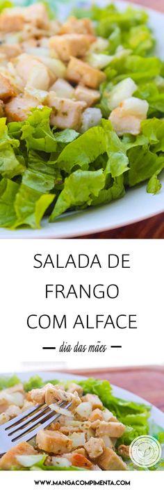 Receita de Salada de Frango com Alface - um prato delicioso para servir no almoço de domingo. #diadasmães #receitas