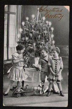 Christmas 1900 | 1900's Real Photo of Christmas Tree and Children
