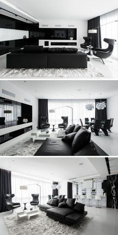 In the living room of this black and white themed apartment, the television is built-in behind the black glass, and when the TV is off, the whole wall looks like a black and white architectural detail.