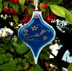 Fused Glass Ornament with Palladium on Deep Blue by blueheron, $19.95
