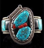 Vintage Old Pawn Turquoise Coral Onyx Bracelet Sterling Silver Cuff s6.5 c1950s
