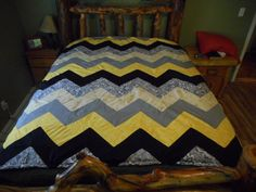 Queen size Quilt made for my daughter, it is called a Chevron Pattern.