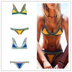 39c6dd5e2ea Aliexpress.com  Comprar Hechos a mano Sexy Crochet Bikini traje de baño  Bikini brasileño