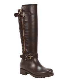 Loving this Brown Quilted Tall Storm Rain Boot on #zulily! #zulilyfinds