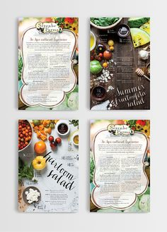 Serenbe Farms information and recipe card by SeeMeDesign. Photography by Ali Harper Photography. Writing by Danny Solomon Bonvissuto. Recipe Book Design, Cookbook Design, Food Menu Design, Menu Card Design, Stationery Design, Design Editorial, Magazin Design, Magazine Layout Design, Food Magazine Layout