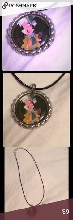 "NWOT Alice in Wonderland mad hatter NWOT Alice in Wonderland Mad hatter necklace. 18"" faux leather cord bottle cap necklace Jewelry Necklaces"