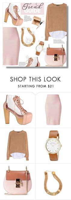"""Trend Guide:Nudes"" by queenvirgo ❤ liked on Polyvore featuring Jeffrey Campbell, Winser London, MANGO, Marc by Marc Jacobs, Chloé, Bobbi Brown Cosmetics and GUESS"