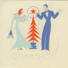 Art Deco Couple Touch Over Christmas Tree Star.