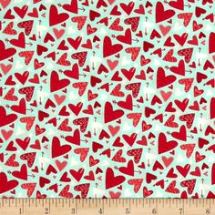 Moda Kiss Kiss Hearts Galore Aqua from @fabricdotcom  Designed by Abi Hall for Moda, this cotton print is perfect for quilting, apparel and home decor accents. Colors include red, aqua, and white.