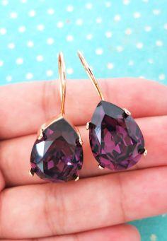 Simple Swarovski Crystal Teardrop Earrings - Rose Gold Crystal Earrings, Gold plated, brides bridesmaid bridal simple earrings, sparkly, www.glitzandlove.com