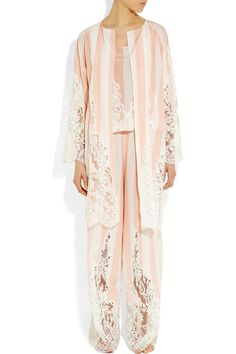 Rosamosario|L'Avvocato striped silk and Chantilly lace robe|NET-A-PORTER.COM