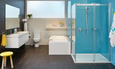 This bright, playful design brings a touch of fun to the family bathroom. Impressive modern features, like the colourful acrylic splashback, toughened glass shower screen, soft contoured bath, and double wall-hung vanity offer the supreme comfort, durability and space you want without skimping on style.