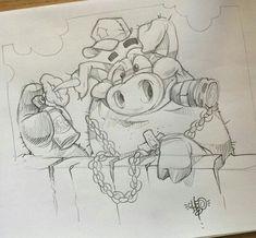 Disney Drawings, Cartoon Drawings, Animal Drawings, Cool Drawings, Cartoon Art, Drawing Sketches, Images Graffiti, Street Art Graffiti, Graffiti Drawing