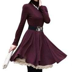 Women's Cotton Blend Solid Color Beam Waist Ruffles Slim Fit Casual Dress(Without Belt), PURPLISH RED, M in Long Sleeve Dresses