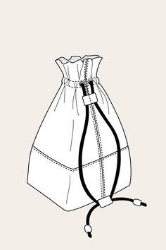 Nata Drawstring Bag - Named Flat Drawings, Flat Sketches, Bag Names, Coral Aqua, Fashion Design Portfolio, Fashion Flats, Diy Fashion, Fashion Vocabulary, Purse Patterns