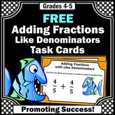 FREE Adding Fractions with Like Denominators Task Cards & Games Grade Adding Fractions, Math Fractions, Teaching Math, Teaching Resources, Teaching Ideas, Special Education Math, Fraction Games, Math Task Cards, Fourth Grade Math