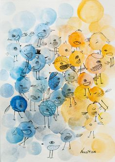Birds abstract animals bright colorful yellow by NORAillustration