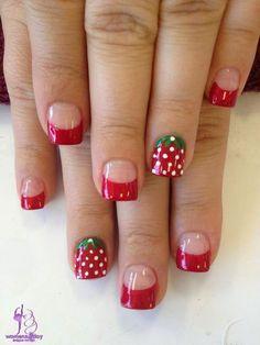 strawberry nail art design / girls fashion trend winter 2015