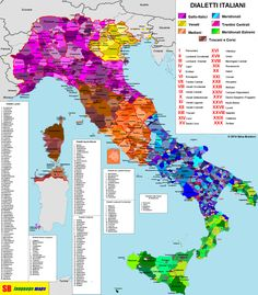 Detailed map of Italian Dialects