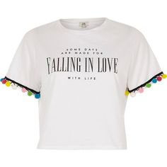 River Island White 'falling in love' print pom pom T-shirt (638.880 IDR) ❤ liked on Polyvore featuring tops, t-shirts, print t-shirts / tanks, t shirts / tanks, white, women, white crop top, short sleeve crew neck t shirt, crew t shirts and crop tee