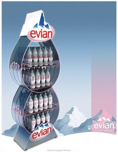 Evian Water Bottle FSU by ibrahim Bozkurt Drink Display, Pos Display, Bottle Display, Visual Display, Display Design, Shelf Display, Display Stands, Point Of Sale, Point Of Purchase