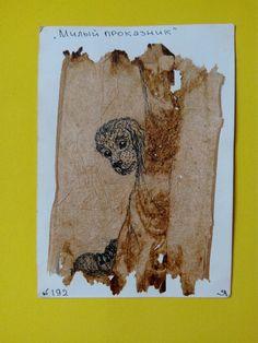 """192 день рисования на чайных пакетиках. """"Милый проказник"""" /гелевая ручка/ #365чай#365чай_ладаяцына#teabag Tea Bag Art, Moose Art, Animals, Animales, Animaux, Animal, Animais"""