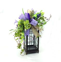 Spring Lantern Swag with Dahlias and Wild Flowers in Lavender & Lime Green