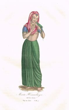 Monts Himalaya - Jeune Fille - Voyage en Asie Tome III page 9 - Histoire pittoresque des voyages  par L.-E. Hatin - 1844 - MAS Estampes Anciennes - Antique Prints