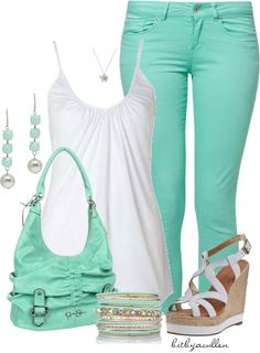 """Colored Jeans"" by bitbyacullen ❤ liked on Polyvore"