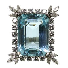 1950s Aquamarine Diamond Platinum Ring  | From a unique collection of vintage fashion rings at https://www.1stdibs.com/jewelry/rings/fashion-rings/