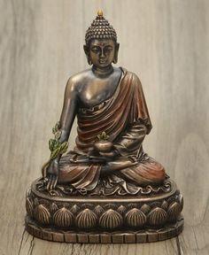 "12/"" China Antique Tibetan Buddhist brass plated gold Rulai Buddha statue"