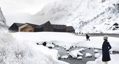 Latvian practice NRJA (no rules just architecture) has proposed 'jøssingfjord center' for   the national association of norwegian architects international competition to create a cultural center   in jøssingfjord, norway. designed to incorporate the site's original powerhouse,