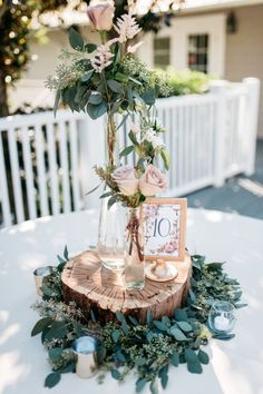 chic rustic dusty rose wedding centerpiece with tree stumps wedding colors 18 Chic Rustic Wedding Centerpieces with Tree Stumps - EmmaLovesWeddings Sage Wedding, Dusty Rose Wedding, Spring Wedding, Yellow Wedding, Chic Wedding, Trendy Wedding, Wedding Signs, Gold Wedding, Perfect Wedding