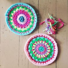 """""""I've got absolutely no fun plans this weekend so I guess it's a good thing I started another #mandysmegamandala #crochetcushion for a friend (shh it's a secret!) this time I'm buying the insert so it might need to be slightly smaller than mega! #crochet #mandalas #yayitstheweekend"""" Photo taken by @kellykellykellygreen on Instagram, pinned via the InstaPin iOS App! http://www.instapinapp.com (09/12/2015)"""