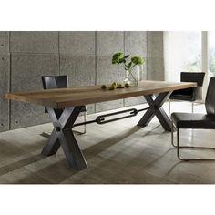 Esstisch aus massiv Eiche, Tisch im Industriedesign mit einem Gestell aus Metall, Maße 200 x 100 cm - Tische - Massivholz Style - Möbel
