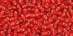 Toho 11/0 Round Japanese Seed Bead, TR11-25BF, Matte Silver Lined Ruby