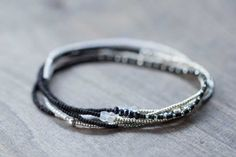 Stretch Wrap Bracelet with Gemstone Accents, Delicate Beaded Black & White Necklace, Seed Bead Jewelry, Boho Chic Multi Wrap Bracelet