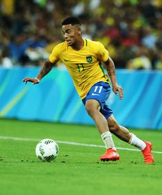 Gabriel Jesus of Brazil controls the ball during Brazil versus Germany in the…