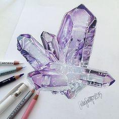 Amethyst crystal drawing #amethyst #crystaldrawing #crystals #amethystcrystal…