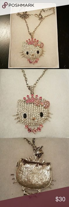 Hello Kitty Princess Necklace WORN BUT TAKEN CARE OF   NOT SURE ON WHAT METAL THIS IS. I'VE HONESTLY HAD IT FOREVER.  SILVER CHAIN WITH CLASP  WHITE, PINK, AND BLACK RHINESTONES  IMPERFECTIONS THAT I CAN TELL, IS HER NOSE PAINT IS STARTING TO RUB OFF   I WILL TAKE REASONABLE OFFERS ON THIS CONSIDERING HOW IMPORTANT IT IS TO ME. PLEASE DON'T LOW BALL ME Hello Kitty Jewelry Necklaces