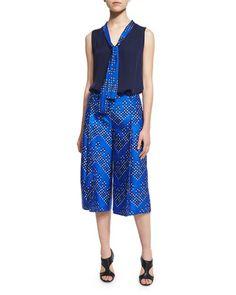 -6P6C Diane von Furstenberg  Britni Sleeveless Silk Top w/ Chevron Dots Trim, Midnight Stanton Chevron Dots Wool-Silk Mikado Culottes, Blue