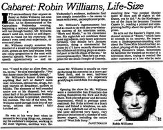 The NY Times reviews the stand-up comedy of a young actor named Robin Williams in  1979.