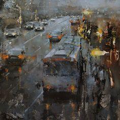 "darksilenceinsuburbia:    Tibor Nagy. The Bus Stop. Oil on Gessoboard, 20 x 20""."