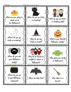 Halloween Wh-Question Cards FREEBIE
